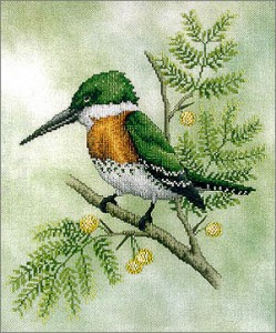 Green Kingfisher Bird Cross Stitch