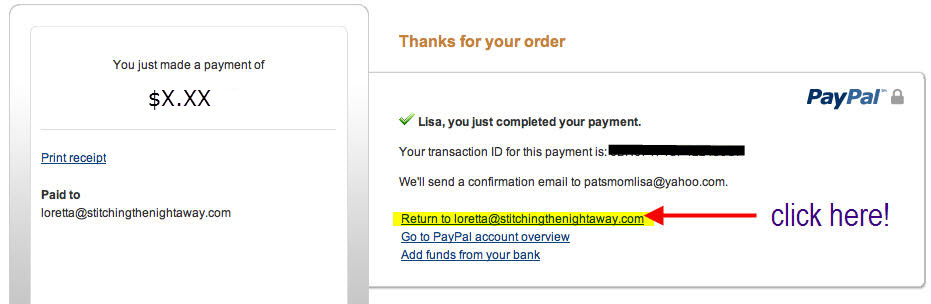 Paypal Back to Site to Receive Download