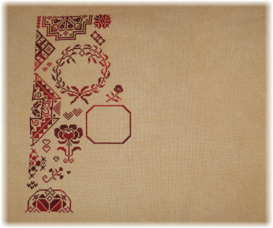progress stitching My Token of Love (a Rosewood Manor design)