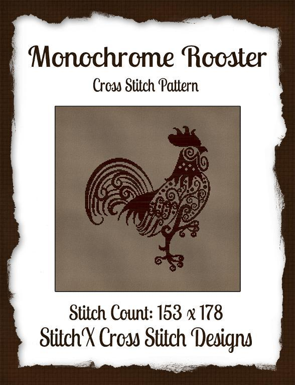 Monochrome Rooster from StitchX