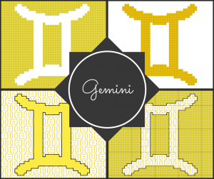 Gemini Zodiac Cross Stitch and Blackwork Pattern Preview