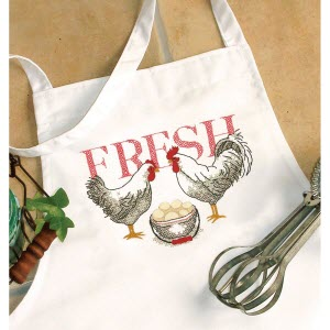 rooster cross stitch apron