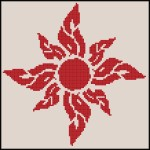 Flaming Floral Sunshine Cross Stitch Pattern