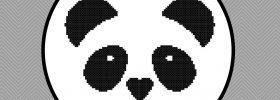 kawaii panda face cross stitch pattern