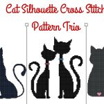 Cat Silhouette Cross Stitch Pattern Trio