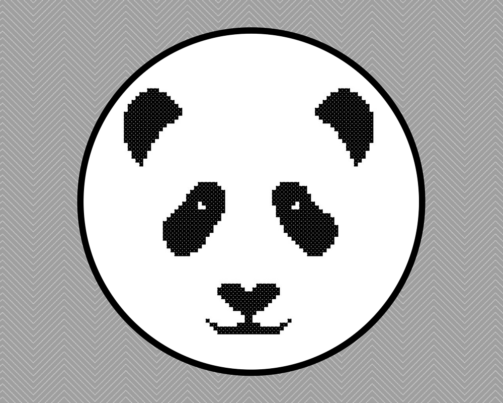 panda face cross stitch pattern